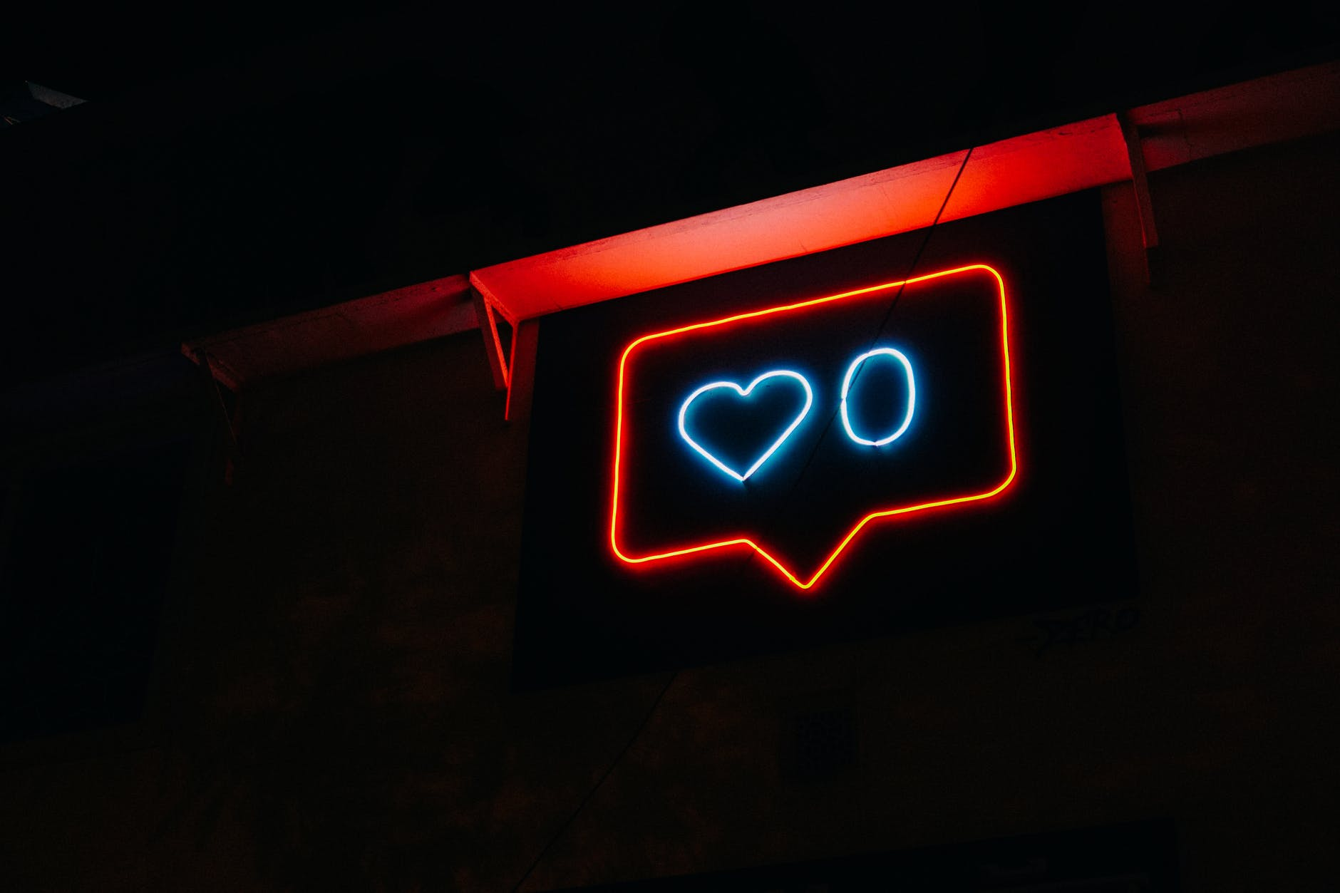 heart and zero neon light signage
